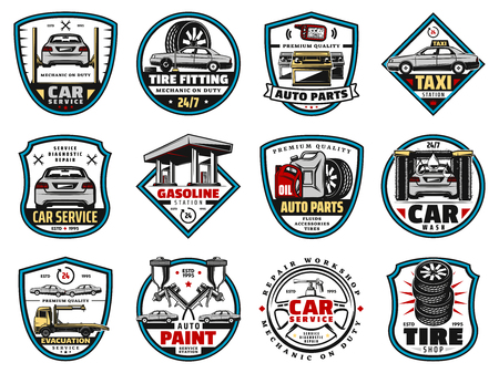 Car service and spare parts vector icons.