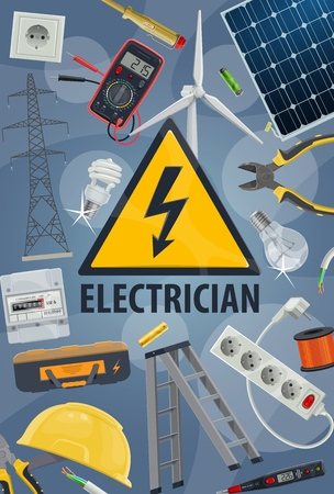 Electric service, electricity power, electrician equipments and work tools. Vector wire pole, energy cable and engineer toolbox, light bulbs, plug and voltage tester, multimeter, battery and cutters
