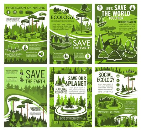 Salvar la ecología y la naturaleza del planeta Tierra, la protección del medio ambiente y el diseño vectorial de conservación forestal. Árboles ecológicos, praderas de hierba y carteles de paisajes boscosos, tema de deforestación