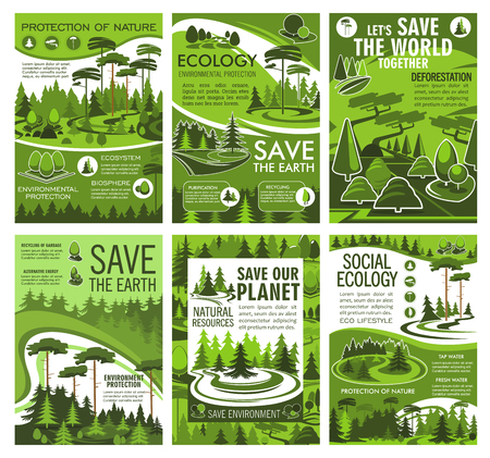 Save Earth planet ecology and nature, environment protection and forest conservation vector design. Eco green tree, grass meadow and woodland landscape posters, deforestation theme