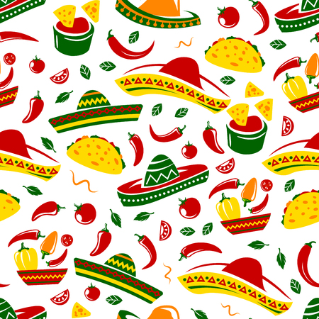 Mexican food seamless pattern background of tacos, nachos and burritos, sombrero, corn tortilla and chili pepper tomato sauce salsa, avocado guacamole, spices and herbs. Mexico cuisine vector design