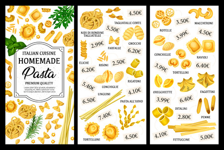 Italian pasta vector menu with spaghetti