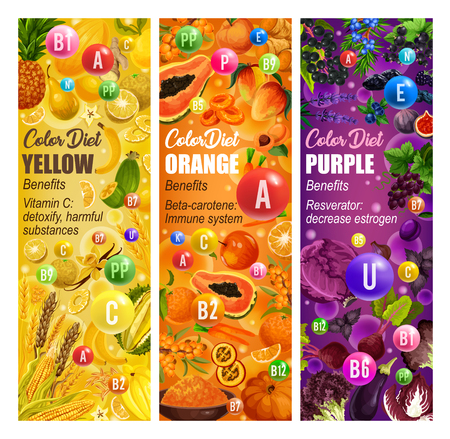 Color diet healthy and vitamin food benefits