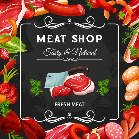 Meat shop blackboard, sausages and meat products frame. Vector beef steak, pork ham and bacon, salami, chicken and lamb sausage slices, gammon, pepperoni and burger patty. Barbeque food