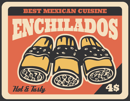 Enchiladas mexican fast food dish retro poster.