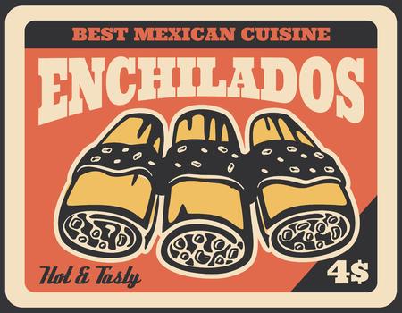 Enchiladas mexican fast food dish retro poster.