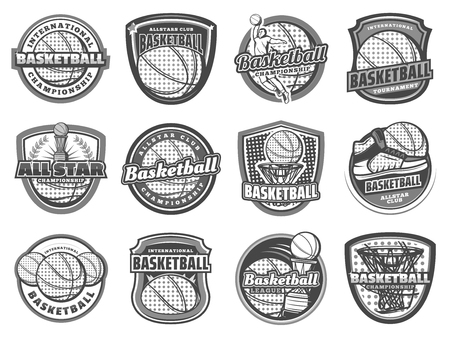 Basketball sport game team halftone icons.