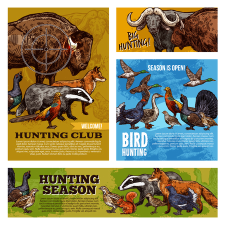 Hunting sport open season, animals and birds with hunter gun target. Duck, buffalo and pheasant, fox, bison and goose, grouse, quail and badger, partridge and squirrel vector sketch design Illustration