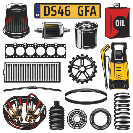 Car and auto engine spare part icons. Vector motor oil, gear and engine gasket, bearing, serpentine belt and wiper, battery jumper cable, number plate, air and fuel filters, spring and washing machine