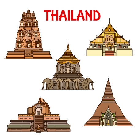 Thai travel landmark of ancient temples and stupas thin line icons.
