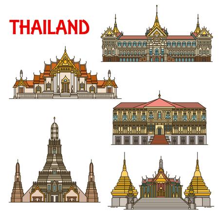 Punto di riferimento di viaggio in Thailandia con l'architettura di Bangkok Vettoriali
