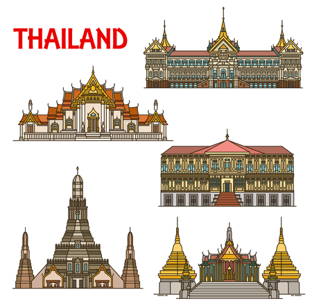 Thailand travel landmark with architecture of Bangkok