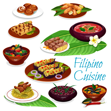 Filipino cuisine meat dishes and pastry dessert. Illustration