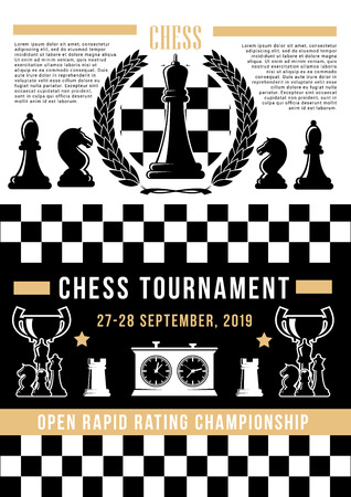 Chess sport tournament of board game vector poster. Ilustração