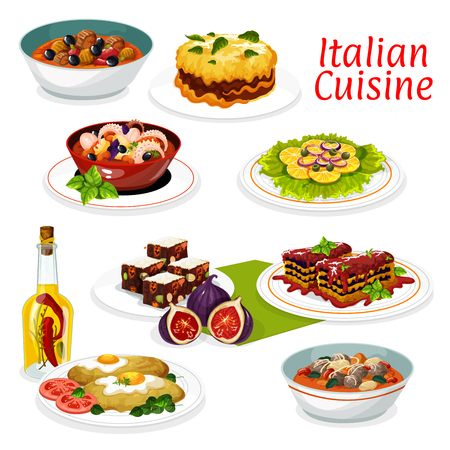 Italian cuisine main dishes of meat and vegetable, lasagna with cheese and tomato sauce, beef olives stew and seafood octopus salad. Vector turkey milanese with egg, dried fruits dessert and bean soup