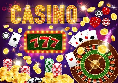 Dados y póquer de casino, tragamonedas King 777 Ilustración de vector