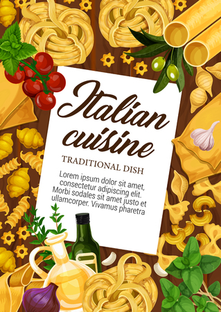 Italian pasta spaghetti, fettuccine and ravioli. Italy traditional food cooking vector ingredients of olive oil and tomato with tagliatelle, lasagna or linguine and pappardelle pasta Illustration