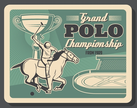 Horse polo championship competition, equestrian sport vintage poster. Vector design of polo jockey player on horse at racecourse arena and tournament champion cup Illustration