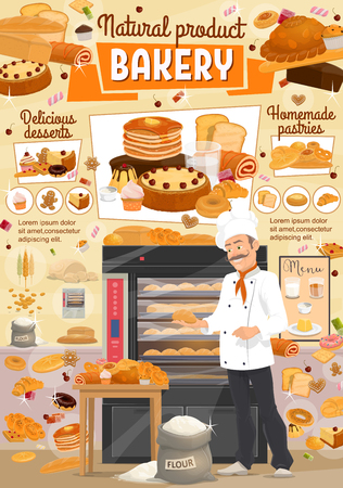Baker in bakery shop with bread and desserts. Vector wheat flour bag, donut or muffin and croissant pastry with buns, pancakes or sweet bagel and toast bread in oven Banque d'images - 114744785
