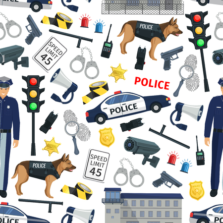 Police and law pattern background. Law and crime seamless policeman, traffic lights or car siren alarm and gun, handcuffs, jail and criminal investigation items Illustration
