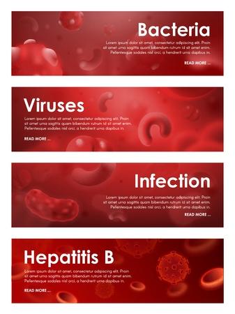 Viren, Infektionen und Blutkrankheitsbakterien der Hepatitis. Vektorbanner für medizinische Bluttests oder infektiöse Mikrobiologie und Virusbiologie oder Hämatologie-Kliniklaborforschung