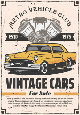Vintage cars sale garage, retro vehicles club and mechanic service station of engine repair and chassis restoration and diagnostics. Vector vintage retro design Illustration