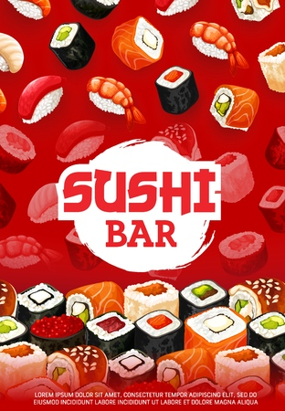 Sushi bar menu of sushi rolls, sashimi and maki pattern. Vector Japanese cuisine dishes, shrimp gunkan or futomaki salmon and ikura caviar or unagi eel with rice and nori seaweed