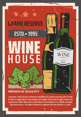 Wine house or winemaking vintage poster. Vector red brut and sparkling wine bottles in vault reserve, grape vine leaf and wine shop premium quality star