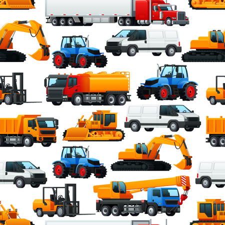 Industrial machinery, vehicles and transport pattern background. Vector seamless pattern of agriculture tractor, construction excavator digger, fuel tank or trailer truck and pick up delivery van