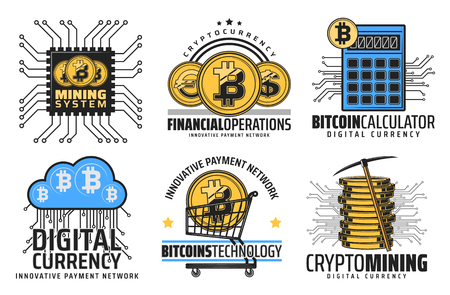 Bitcoin cryptocurrency mining and blockchain technology icons. Vector crypto currency digital wallet, bit coin e-business and online web commerce or finance network calculator