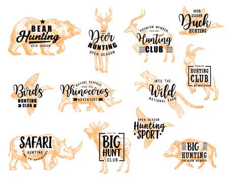 Klub myśliwski napis, dzikie ptaki i zwierzęta polują ikony szkicu. Wektor myśliwy otwarty sezon i projekt kaligrafii polowania na afrykańskie safari niedźwiedzia, jelenia lub gazeli, nosorożca lub łosia i geparda