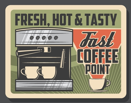 Coffee cafe retro poster of cofee machine with espresso or americano cups. Vector cafeteria or coffeeshop and coffeehouse cappuccino or latte macchiato drinks Illustration