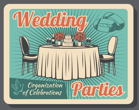 Wedding party celebration, marriage and family holiday, event arrangement or organization. Vector table and seats, bridal rings and bouquets. Champagne and cake dessert, reception and ceremony