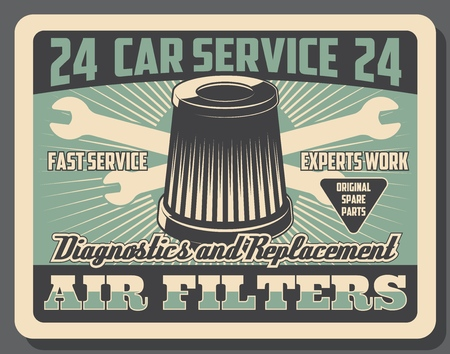 Car service of air filters replacement and vehicle diagnostics. Vector vintage design poster of auto mechanic restoration and garage station or transport spare parts shop 일러스트