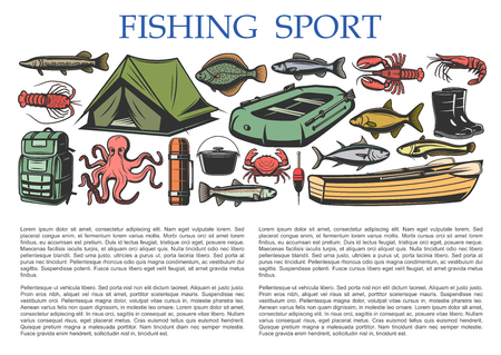 Fishing sport and fisherman tackles equipment with fish catch license. Vector fishing rod, rubber boat and camping tent or lures and hooks on octopus, shrimp or tuna and catfish or pike Illusztráció