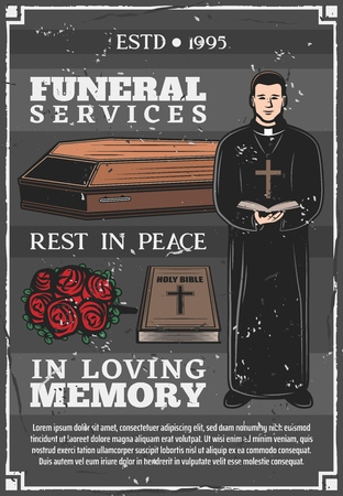 Funeral service, mortuary and burial ceremony agency or company poster. Vector priest with bible in church mass, memorial flowers wreath on coffin