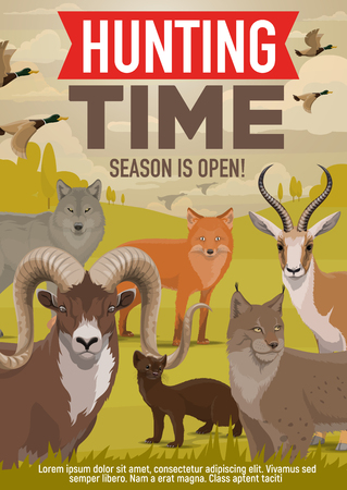 Hunting open season and hunter hunt adventure poster. Vector wild forest animals and birds, wolf or fox and ermine or mink, lynx with ducks or mountain sheep and African Safari gazelle Stock Vector - 114744813