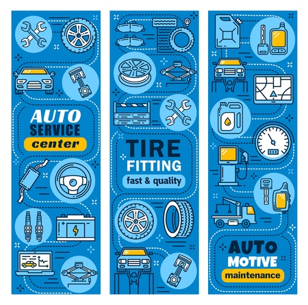 Car service and auto mechanic repair center banners. Vector design for tire fitting or automotive maintenance of vehicle muffler, tow truck and lug wrench for garage diagnostic station Çizim