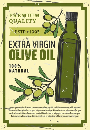 Olive oil extra virgin natural product retro poster. Vector cooking olive oil farming and agriculture production or Spanish, Greek Mediterranean and Italian cuisine salad ingredient