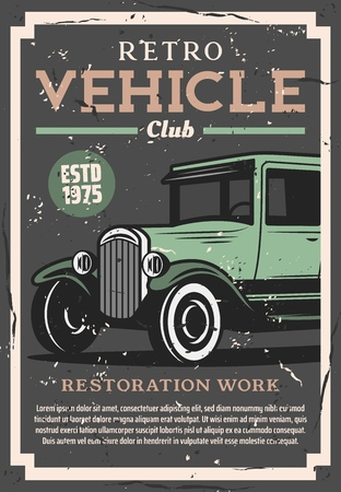 Retro cars club and vintage vehicle restoration service station. Vector old rarity automobile, mechanic garage and spare parts shop grunge poster