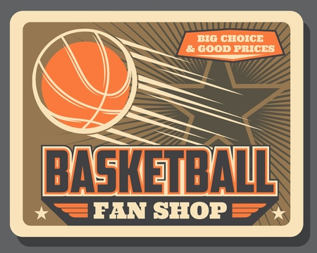 Basketball sport balls shop vintage poster. Vector basketball fan club or league team game equipment store, stars and victory wings Illustration