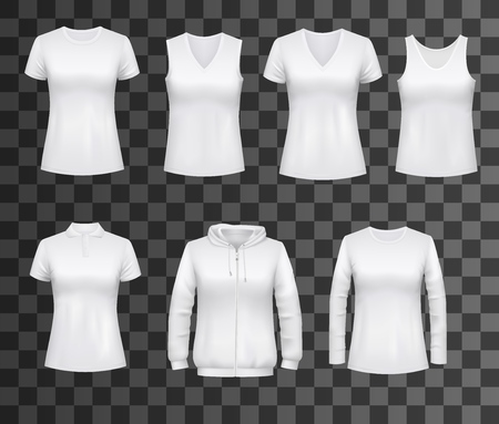 Women t-shirts, sport tank tops or hoodies and casual polo shirts. Vector white womenswear apparel models, realistic blank front view set for brand promo, isolated on transparent background