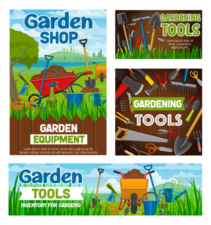 Garden shop and gardening agriculture equipment tools. Vector farm spade, rake or pitchfork and wheelbarrow, gardener agronomy or farming and planting inventory secateurs and hack hoe