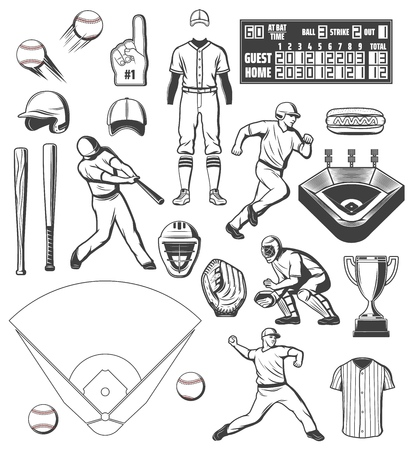 Baseball players, sport equipment and outfit uniform icons. Vector baseball ball and bat, scoreboard on arena field, catcher glove and batter helmet with umpire referee and cheerleader thumb up