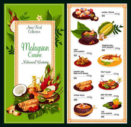Malaysian cuisine meals menu. Vector Asian traditional dishes of sambal tehlur, shrimps soup or seabass grill with coconut and fried chicken legs, fruit salad or spring-roll and beef roe deer with lax