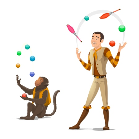 Circus juggler with trained monkey juggling balls and clubs. Vector isolated circus animals and equilibrist man performance