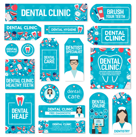 Dental clinic and dentistry medicine of exodontia or orthodontic therapy treatment and implantation surgery. Vector dentist doctor with tooth implants and braces, toothbrush or toothpaste