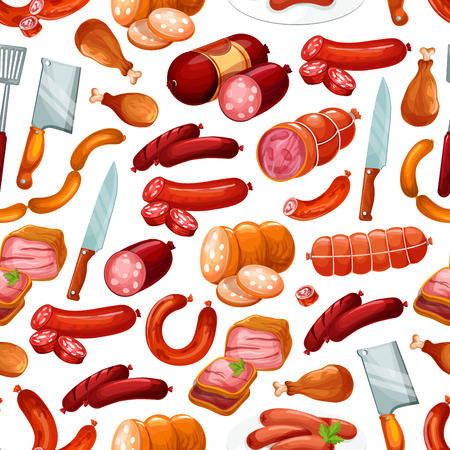 Meat products and butchery shop sausages pattern. Vector seamless background of beef and pork, chicken or bacon ham and salami or pepperoni sausages