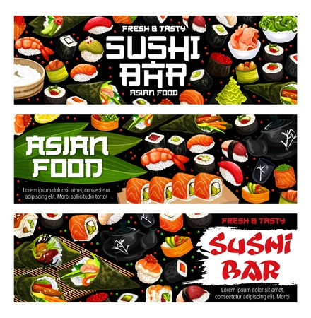 Sushi bar menu Japanese cuisine sushi and rolls, gunkan or futomaki and salmon sashimi. Vector Asian food restaurant banners of maki, nigiri with nori seaweed and chopsticks Vettoriali
