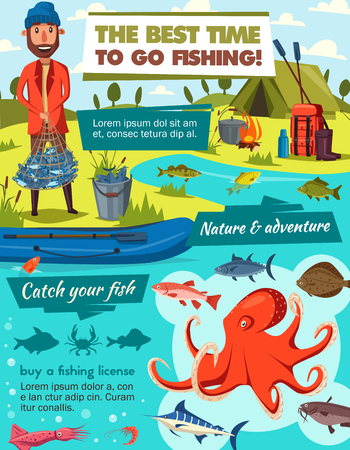 Fishing sport tackles and fish catch equipment. Fisherman with trout or carp in net, cartoon camping tent, seafood octopus and squid with fishing rod, lures and rubber boat on lake or river